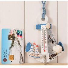Hanging Hook Wood Anchor Thermometer Beach Shells Nautical Wall Home Door Decor