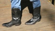 Men's BOULET LEATHER WESTERN BOOTS BLACK MADE IN CANADA SIZE 9 1/2