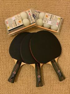 **NEVER USED** 3 Martin Kilpatrick Ping Pong Paddles & Japanese Butterfly Balls