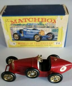 """Lesney 1926 Bugatti Type 35 """"Models of Yesteryear"""" Red Diecast Race Car with Box"""