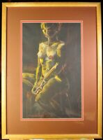 Original pastel on black paper of a seated nude by Kathyrn Delany