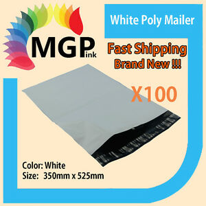 100 x Plastic Poly Courier Mailer Mailing Satchel Post Bags 350mmx525mm+40 lip