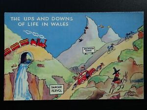 Wales Snowdonia THE UPS & DOWNS OF LIFE IN WALES c1930S Comic Postcard