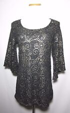 NWT Brittany Black Woman Blouse Top Size M Black Gold Artsy Sequin Detail USA