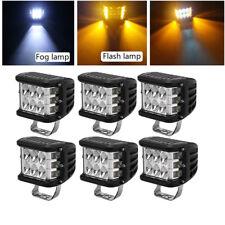 """6x 4"""" OffRoad LED Work Light Bar Side Shooter White + Amber Driving Strobe Lamp"""