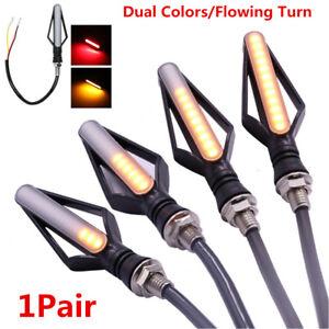 1 Pair Dual Colors 24LED Brake Tailight Flasher Strobe Flowing Turn Signal Light