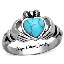 HCJ WOMEN'S STAINLESS STEEL SYNTHETIC TURQUOISE BLUE IRISH CLADDAGH RING SIZE 9