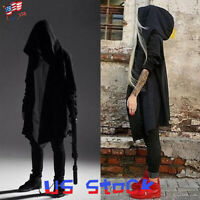 Men Women Goth Gothic Punk Hoodie Jacket Long Cardigan Ninja Coat Cloak Cape US