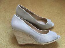 Ladies Peep Toe Silver Sparkle Wedge Shoes Size 5 EU 38 New