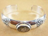 "Flower Thai Style 925 Stering Silver Torque Bangle Bracelet Cuff 6"" - 7"" 30g"