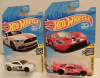2018 Hot Wheels LOT OF 2 FORDS:  (1.) 2015 Mustang GT (2.) 2016 Ford GT Race~MOC
