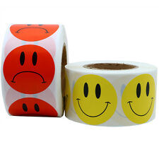 """1.5"""" Smiley Face And Sad Face Stickers Labels Yellow+Red Total 2 Rolls"""