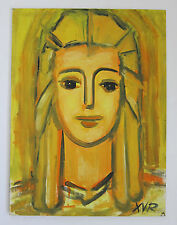 Original Modern Painting Portrait Young Blonde Woman Initial Signed VTG 80s