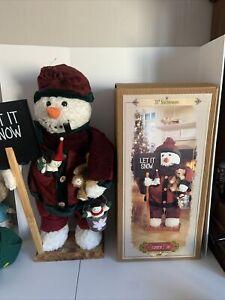 """31"""" Grandeur Noel Plush Snowman Holding Teddy Bear Shovel Standing Wooden Base"""