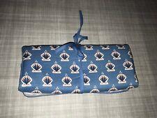 Lillian Vernon Blue Shell Print Small Travel Bag Organizer Jewelry Cosmetics