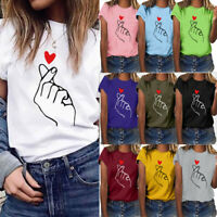Women Summer Plus Size Print Short Sleeve Blouse O-Neck T Shirt Polyester Top AU