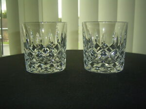 2 VINTAGE LEAD CRYSTAL CUT WHISKY TUMBLERS GLASSES GOOD QUALITY