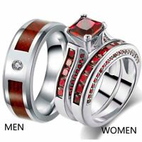 Couple Rings Titanium Steel Mens Wedding Band Red CZ Womens Wedding Ring Sets