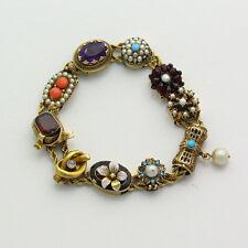 Antique Victorian 14k Yellow Gold Multi Gem Stone Slide Bracelet
