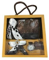 Gift Set My Wish Brown Crocodile Faux Leather Handbag Scarf Brooch Watch Keyring
