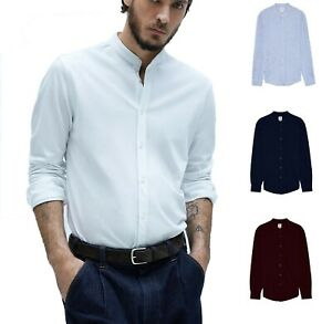 Men's Grandad Collar Casual Pique Shirt Long Sleeve Shirts RH06