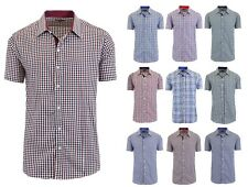 Mens Short Sleeve Gingham Dress Button Down Causal Shirt Fancy Solid Slim Fit