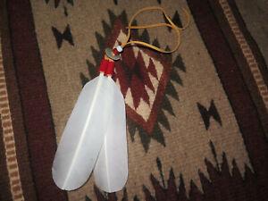 Native American Hair Tie Regalia handmade Bald Eagle Feather Spiritual Symbolism