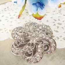 BRIDAL DRESS RHINESTONE CRYSTAL WEDDING FLOWER SILVER BROOCH PIN