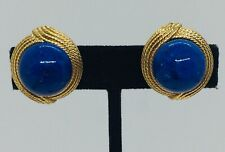 Ciner Vintage Yellow Gold Plated Blue Glass Cabochon Clip Earrings