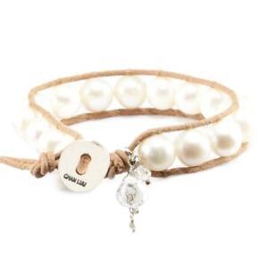 Chan Luu White Pearl Charm Single Wrap Bracelet on Beige Leather