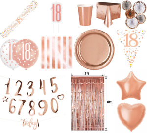 18th Birthday Rose gold Party Supplies Tableware Bunting Balloons Decoration