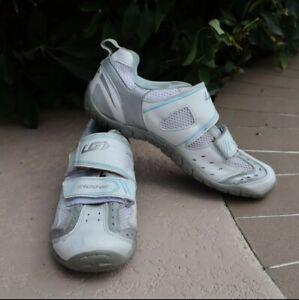 Garneau Multi ERGO-GRIP Cycling Shoes Womens 8.5M White-Silver-Blue & Shimano