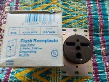 Eagle Flush Receptacle,1234C,250V,30 Amp,Brown,NIB