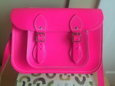"Cambridge Satchel Company Co Neon Hot Pink 11"" Crossbody Messenger Bag Leather"