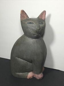 "Vtg Folk Art Hand Carved Painted Wooden CAT Figure Statue 9.5"" Weathered Patina"