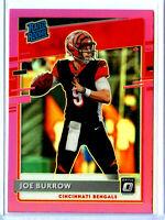 2020 Joe Burrow Rookie Optic Red Prizm RC SP Panini Donruss Pink RC Card