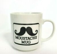 "Vintage Mustache mug Black White Small 3"" x 3 1/4"" excellent condition"