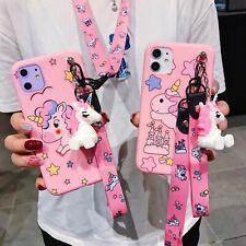 Hot Unicorn Cute Bracket Lanyard Women Girl Soft Case Cover For Various Phones