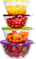 Glass Mixing Bowl Set - Large Durable Glass Baking Storage Container Set of 4