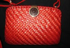 Vintage Rodo Red Woven Wicker Leather Shoulder Bag Crossbody Purse