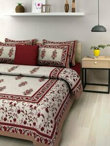 Jaipuri Traditional King Size Double Bed Bedsheet with 2 Pillow Covers