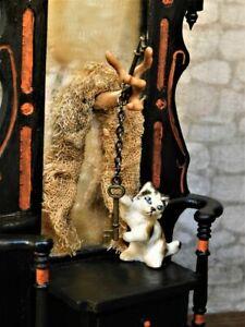 Dollhouse Miniature Haunted Ghost Mirror Hall Tree 1:12 Halloween OOAK