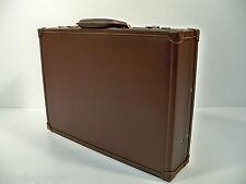 """Brown Leather Slim Attache w/ Fan File 4"""" Briefcase"""