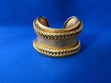 Signed Robert Lee Morris Donna Karan 24k Gold Plate Braided Cuff Bracelet 1980's