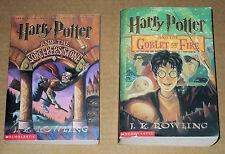 Harry Potter Sorcerer's Stone & Goblet of Fire by J. K. Rowling (Paperback) Lot