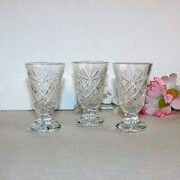 """CUT CRYSTAL LIQUEUR GLASSES 3 VINTAGE FOOTED SHOT GLASS CORDIAL 2 7/8"""" TALL"""