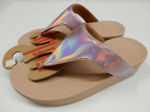 FitFlop Womens Lottie Iridescent Scale Toe Post Sandals Soft Pink 9