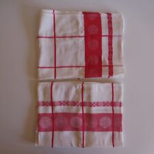 2 Tableclothes Linen Path Table White Red Cotton Art Deco Design Xx France N3577