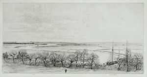 A fine original etching by Kerr Eby, Rye Marshes,  1929, pencil signed