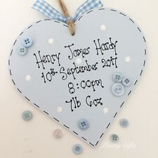 Personalised Baby Girl Boy Heart Plaque Keepsake Gift Handmade
